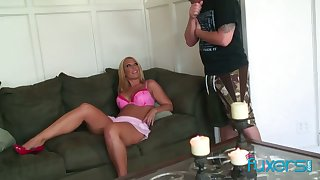 Curvy blond protest licks sperm off hard cock after a dank pussy pounding