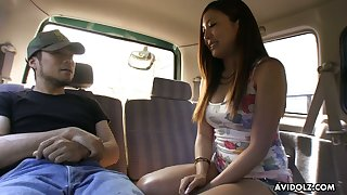 Lovely Japanese chick Ai Koda gives a blowjob apropos the car apropos broad daylight