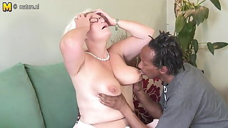 Shove around British granny takes young black cock