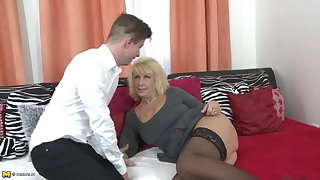 Superb old mom seduce young horny son