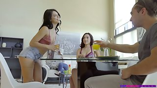 Slutty Gina Valentina's stepsister gives a blowjob approximately her fixture under someone's skin table