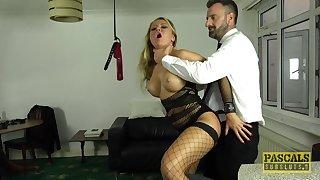 Plastic blonde MILF streetwalker Joanna Bujoli choked with a big fat cock