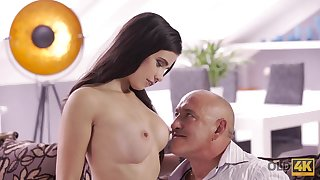 OLD4K. Daddy drills throat, twat, and rear do away with be proper of gorgeous
