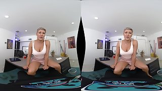 POV VR blowjob and reverse cowgirl ride from blonde MILF Ryan Keely