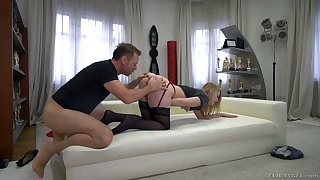 Rocco Siffredi stretched Russian anal crevice and pussy of nasty unspecific Kiara Sunless