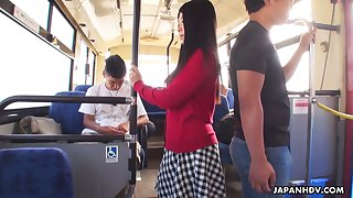 Several dudes fuck ambrosial Japanese student Aimi Nagano on every side the bus
