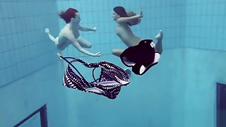 Katrin and Lucy big heart of hearts underwater