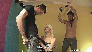 Filthy blonde Mia Hilton ties up her boyfriend and bangs her henchman