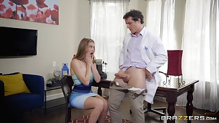 Blonde teen seductress Ashley Street swallows a ton in the kitchen