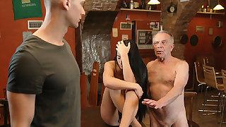 DADDY4K. Old dad seduces beautiful dark hair while son..