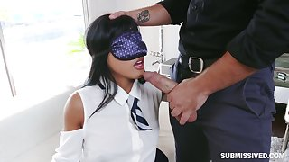 Blindfolded puckish hottie Ember Snow is eager to be fucked missionary
