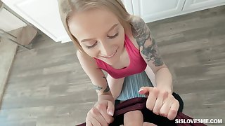 Blue eyed stepsister Paris White gives a great POV blowjob coupled with gets fucked hard