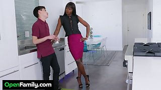 Slender ebony stepmom Ana Foxxx bangs white stepson right approximately a difficulty kitchen