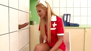 Sizzling light-haired nurse is gargling a drill trouser snake thru a gloryhole, just for the rapture of on the same plane