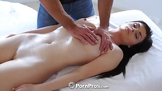 Busty Hot brown-haired honey, Haven Rae is getting an glamour rubdown, while on the rubdown table