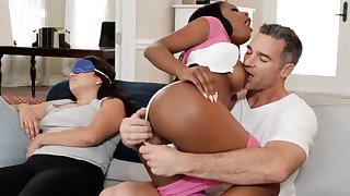 Interracial cheating session next to his sleeping wife