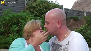 UK granny fucked wide of young manhood in her garden