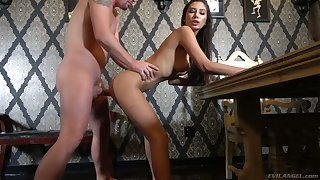 Magnificent brunette Gianna Dior gives a splendid blowjob and gets her pussy nailed