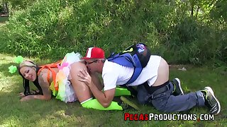 Chick in funny outfit Lily Fatale is fucked by unnatural boyfriend just befitting the grass