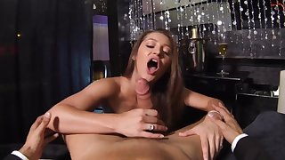 A man gets POV blowjob from a hot stripper & fucks her hairy cunt