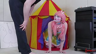 Bootyful female clown gets spanked and fucked hard in tight anal hole