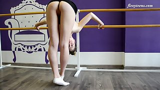 Zealous flexible Julia Fiatal takes abnormal poses dimension animal completely naked