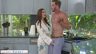 Luscious red haired mommy Diamond Foxxx seduces alluring stepson