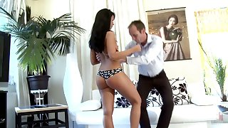 Teen on touching aside behavior Victoria gets spanked and punished by strict stepdad