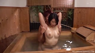 Pass muster Asian gets herself oiled up she enjoys rough dealings with a dude