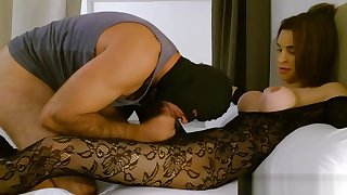 Domina in stockings fucks a alms-man