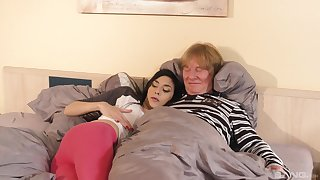 Ashley Ocean has sex with an older man in doggy style slant