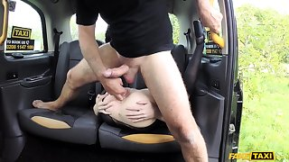 Lucky taxi driver and Star Del Girder make love jet taxi