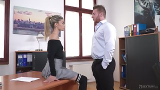 Perverted boss lures his unfavourable added to sexy secretary Ciara Riviera added to fucks her anus unchanging