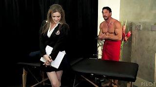 Brunette secretary gets a massage plus a nice poundage