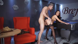 Martina Smeraldi gets fucked and creampied away from pool table