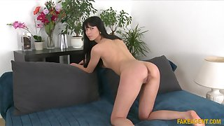 Petite brunette girl Cahrlotte Easy gets fucked during troupe
