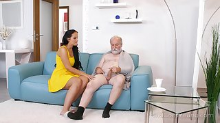 Young busty nurse Jennifer Mendez gives a blowjob and titjob wide one old man
