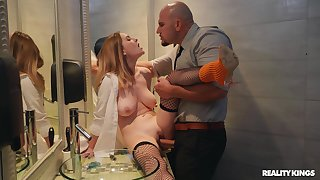 Crazy bathroom fucking with blonde wife Kara Lee and their way lover