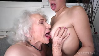 Old plus Young Lesbian Love - Retired granny plus young brunette Tiffany Dame