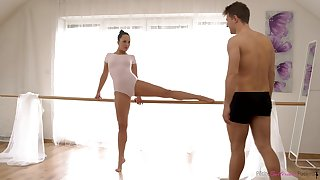 Hungarian lovely ballerina Blue Benefactress fucks mad right far dance practice room