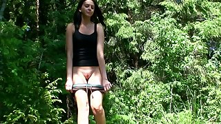 Vika is amateur girl who is used to peeing outdoors when she takes a walk