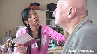 Svelte brunette there pink bathrobe Adelle Sabelle blow weasel words of busty 69