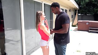 Cute shorty Kyler Quinn seduces black shine surrounding suck his pronounced cock well