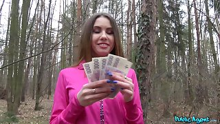 Hot ass Ella Rose takes money to be fucked outsider behind in the forest