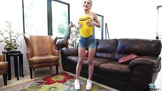 Petite blond coed Jessie Saint is dildo fucking tight teen pussy
