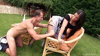 Horny housemaid Athina Love drops their way panties to be fucked