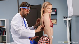 First time this slim beauty tries her doctor's cock