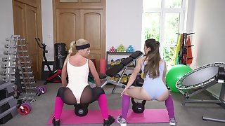 Post-workout threesome with hot babes Cristal Caitlin and Giorgia Roma